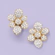 1.50 ct. t.w. Diamond Flower Earrings in 14kt Yellow Gold