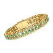 C. 1950 Vintage Turquoise Double-Row Bracelet in 18kt Yellow Gold