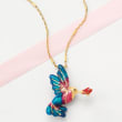 Italian Multicolored Enamel Hummingbird Necklace in 18kt Gold Over Sterling