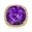 17.50 Carat Amethyst and .75 ct. t.w. Diamond Ring in 14kt Yellow Gold