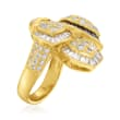 C. 1980 Vintage 2.78 ct. t.w. Diamond and .99 ct. t.w. Sapphire Leaf Ring in 18kt Yellow Gold