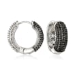 1.00 ct. t.w. Black and White Diamond Reversible Huggie Hoop Earrings in Sterling Silver