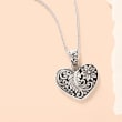 Balinese Sterling Silver Heart Pendant Necklace