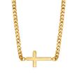 14kt Yellow Gold Sideways Cross Adjustable Necklace