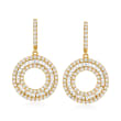 1.95 ct. t.w. Baguette and Round Diamond Circle Hoop Drop Earrings in 14kt Yellow Gold