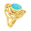 Blue Chalcedony Openwork Ring in 18kt Gold Over Sterling