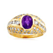 C. 1980 Vintage 1.30 Carat Amethyst and 1.35 ct. t.w. Diamond Ring in 18kt Yellow Gold
