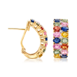 6.75 ct. t.w. Multicolored Sapphire and .10 ct. t.w. Diamond Earrings in 18kt Yellow Gold