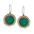 Green Chalcedony Drop Earrings in Sterling Silver and 14kt Yellow Gold