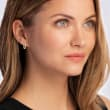 1.20 ct. t.w. CZ Jewelry Set: Three Pairs of Huggie Hoop Earrings in Tri-Colored Sterling Silver