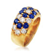 C. 1980 Vintage 2.00 ct. t.w. Sapphire and 1.41 ct. t.w. Diamond Flower Ring in 18kt Yellow Gold