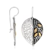 Sterling Silver and 14kt Yellow Gold Leaf Drop Earrings