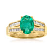 1.70 Carat Emerald and .37 ct. t.w. Diamond Ring in 14kt Yellow Gold
