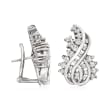 C. 1980 Vintage 2.00 ct. t.w. Diamond Swirl Earrings in 14kt White Gold