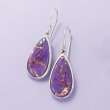 Teardrop Purple Turquoise Earrings in Sterling Silver