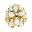 C. 1970 Vintage Opal and .70 ct. t.w. Diamond Cluster Ring in 18kt Yellow Gold
