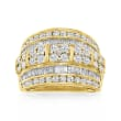 2.00 ct. t.w. Baguette and Round Diamond Multi-Row Ring in 18kt Gold Over Sterling