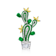 2.78 ct. t.w. Yellow and White CZ and 1.60 ct. t.w. Simulated Emerald Cactus Pin in Sterling Silver
