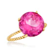 8.50 Carat Pink Topaz Twist Rope Ring in 14kt Yellow Gold