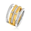 Set of Four .15 ct. t.w. Diamond Stackable Rings in Two-Tone Sterling Silver
