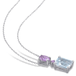 3.00 Carat Aquamarine and .76 ct. t.w. Amethyst Necklace in Sterling Silver