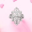 .50 ct. t.w. Diamond Openwork Floral Ring in Sterling Silver