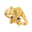 .10 ct. t.w. Sapphire Frog Ring with Green Chrome Diopside Accents in 18kt Gold Over Sterling