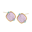 """Andrea Candela """"Dulcitos"""" 8.30 ct. t.w. Amethyst and .16 ct. t.w. Emerald Earrings in Sterling Silver and 18kt Yellow Gold"""