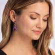 24.50 ct. t.w. Amethyst Drop Earrings in 18kt Gold Over Sterling