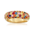 3.10 ct. t.w. Multicolored Sapphire Ring in 18kt Gold Over Sterling