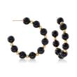 Black Onyx Bead J-Hoop Earrings in 14kt Yellow Gold