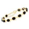 Black Onyx Bracelet in 18kt Gold Over Sterling