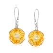 Amber Starfish Drop Earrings in Sterling Silver
