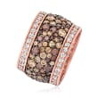 6.00 ct. t.w. Brown and White CZ Wide-Band Ring in 18kt Rose Gold Over Sterling