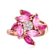 2.00 ct. t.w. Pink Sapphire and 1.60 ct. t.w. Ruby Flower Ring with .14 ct. t.w. Diamonds in 14kt Rose Gold