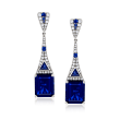 12.60 ct. t.w. Simulated Sapphire and .70 ct. t.w. CZ Drop Earrings in Sterling Silver
