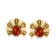 C. 1960 Vintage 14.80 ct. t.w. Citrine and 1.00 ct. t.w. Diamond Fan Clip-On Earrings in 14kt Yellow Gold