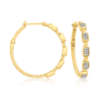 .15 ct. t.w. Diamond Cluster Station Hoop Earrings in 18kt Gold Over Sterling