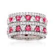 2.60 ct. t.w. CZ and 1.10 ct. t.w. Simulated Pink Sapphire Eternity Ring in Sterling Silver