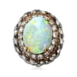 C. 1950 Vintage Opal and 2.00 ct. t.w. Diamond Ring in Platinum and 10kt Yellow Gold
