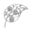 C. 1970 Vintage 1.25 ct. t.w. Diamond Openwork Leaf and Flowers Pin in 14kt White Gold