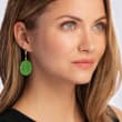 Green Quartzite Flower Drop Earrings in 14kt Yellow Gold