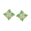 3.50 ct. t.w. Emerald and .25 ct. t.w. White Zircon Pinwheel Stud Earrings in 18kt Gold Over Sterling