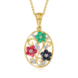 .70 ct. t.w. Multi-Gemstone Flower Pendant Necklace with Diamond Accents in 18kt Gold Over Sterling