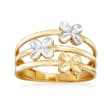 14kt Yellow Gold Triple-Station Flower Ring