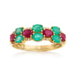1.10 ct. t.w. Emerald and .90 ct. t.w. Ruby Ring with Diamond Accents in 14kt Yellow Gold
