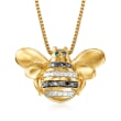 18kt Gold Over Sterling Bee Pendant Necklace with Multicolored Diamond Accents