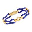 C. 1990 Vintage Corletto Blue Enamel Bracelet in 18kt Yellow Gold