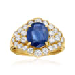 C. 1980 Vintage 2.69 Carat Sapphire and 1.36 ct. t.w. Diamond Ring in 18kt Yellow Gold