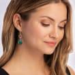 Green Chalcedony Openwork Drop Earrings in 18kt Gold Over Sterling